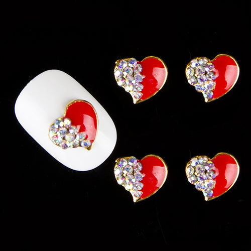10Pcs Red Love Heart Glitter Rhinestones Alloy 3D Nail Sticker Art DIY Decor