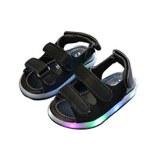 Load image into Gallery viewer, Toddler Boy Girl LED Light Magic Tape Baby Sandals Summer Anti-slip Hollow Shoes