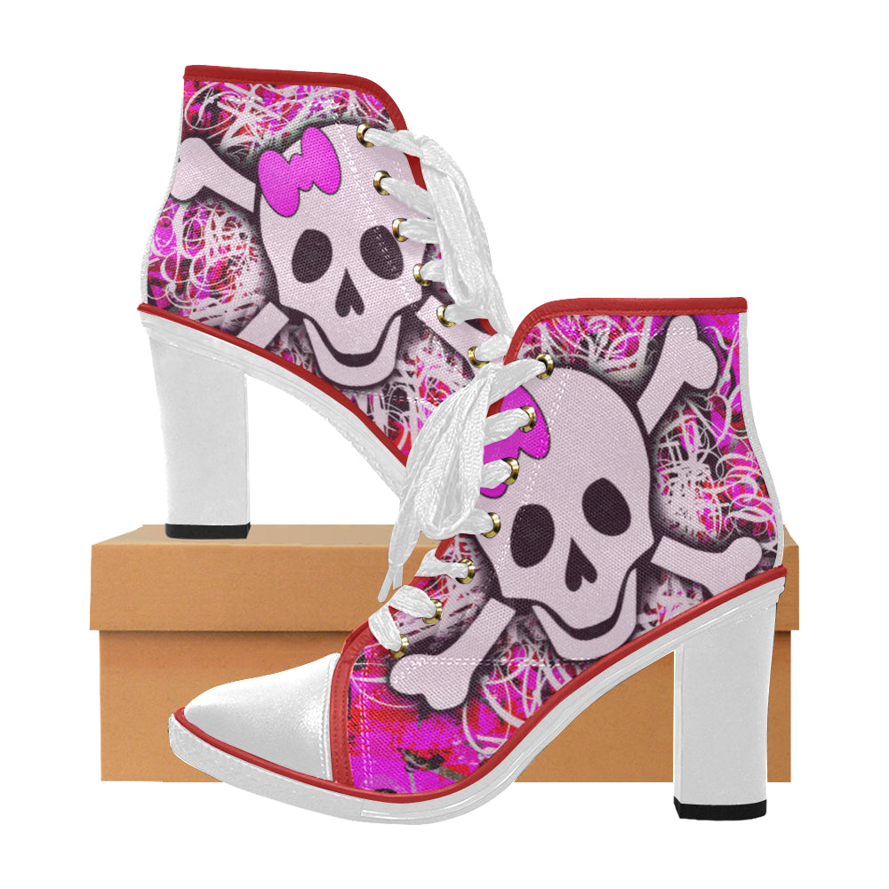 pink skull and crossbone graffitti Women's Canvas Lace Up Chunky Heel Ankle Boots