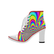 Load image into Gallery viewer, Bold colourful  Women's Canvas Lace Up Chunky Heel Ankle Boots