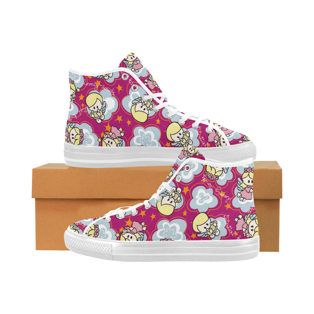 Charity angels wings stars flower Vancouver High Top Canvas Women's Shoes