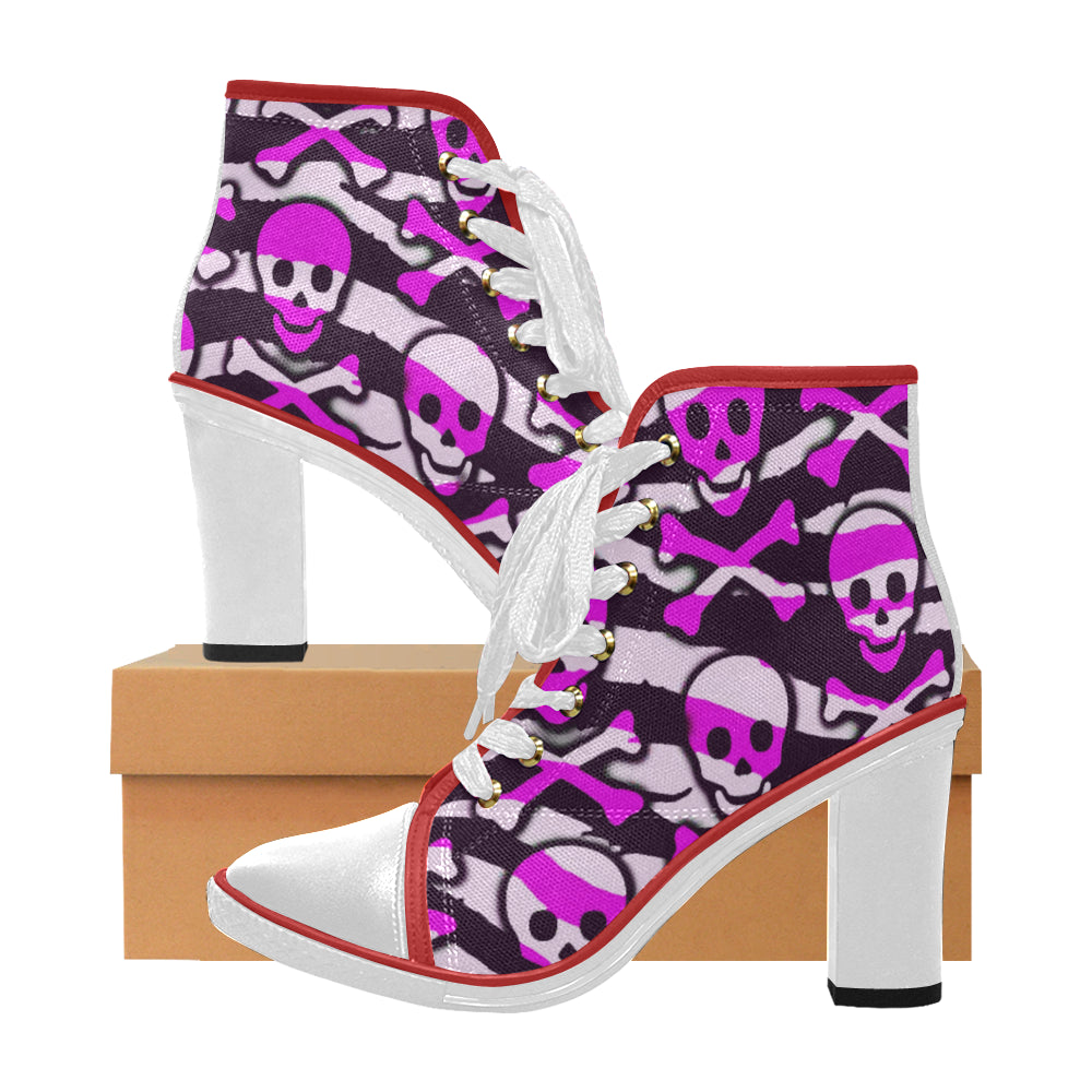 pink skull and cross bones Women's Canvas Lace Up Chunky Heel Ankle Boots