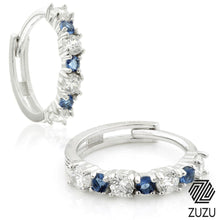 Load image into Gallery viewer, Silver CZ & Sapphire Blue Cartilage Huggie Earrings