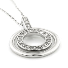 Load image into Gallery viewer, Steel CZ Encircled Halo Pendant Necklace