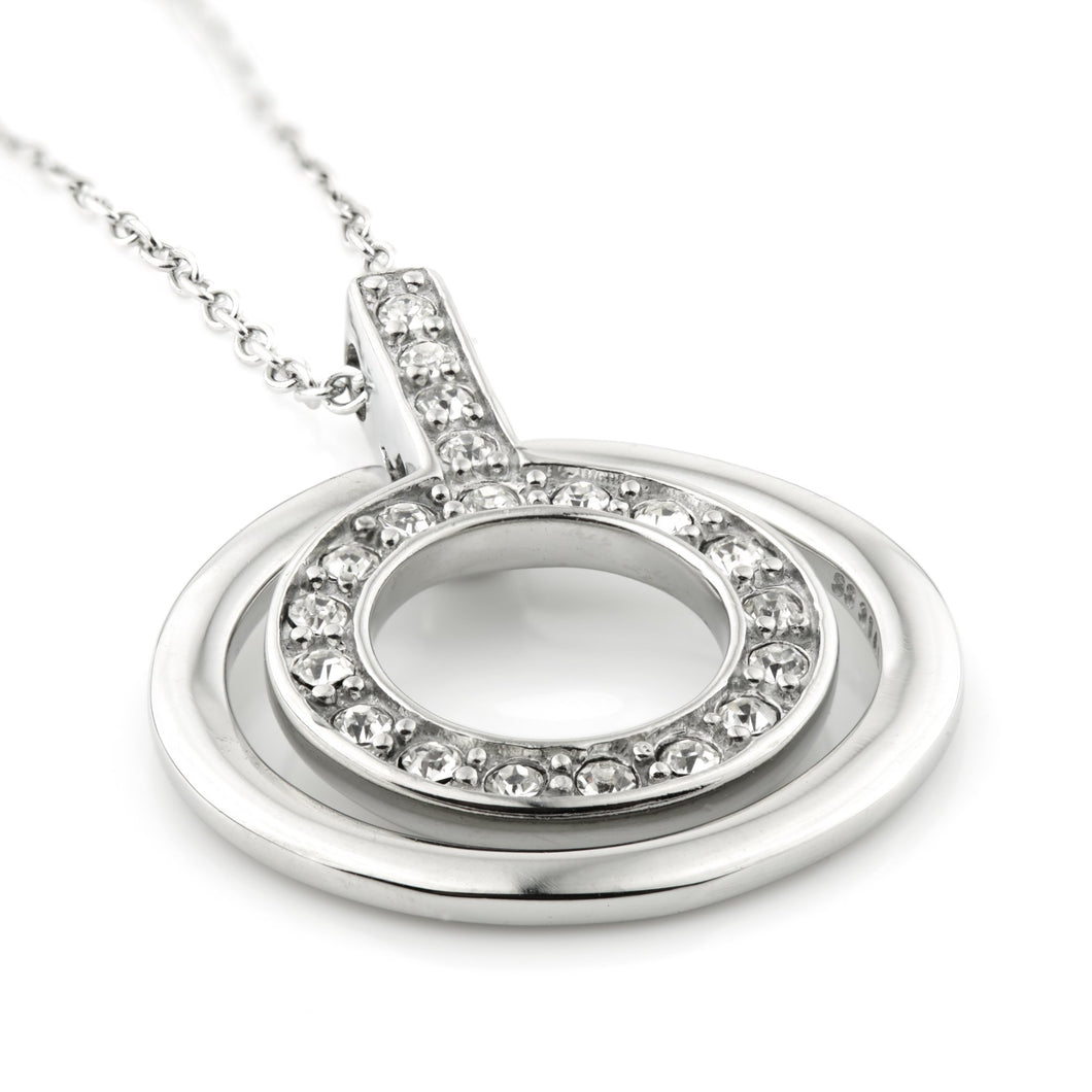 Steel CZ Encircled Halo Pendant Necklace