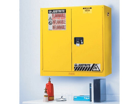 Sure-Grip® EX Wall Mount Flammable Safety Cabinet, 20 Gallon, 2 Manual Close Doors, Yellow