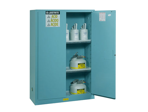 Sure-Grip® EX Corrosives/Acid Steel Safety Cabinet, 90 Gallon, 2 Self-Close Doors, Blue