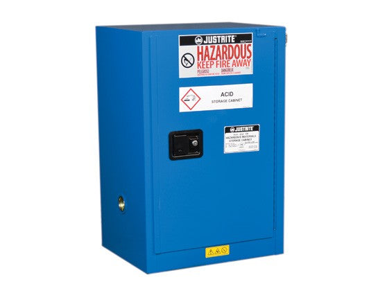 Sure-Grip® EX Compac Hazardous Material Stl Safety Cabinet, 12 Gallon, 1 Self-Close Door Royal Blue