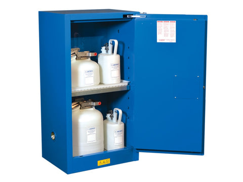 Sure-Grip® EX Compac Hazardous Material Steel Safety Cabinet, 15 Gallon, 1 Self-Close Door Royal Blue