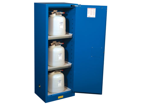 Sure-Grip® EX Slimline Hazardous Material Stl Safety Cabinet, 22 Gallon, 1 Self-Close Door, Royal Blue