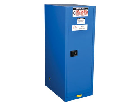 Sure-Grip® EX Deep Slimline Hazardous Material Safety Cabinet, 54 Gallon 1 Self-Close Door, Royal Blue