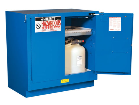 Sure-Grip® EX Undercounter Hazardous Material Stl Safety Cabinet, 22 Gallon, 2 Self-Close Drs Royal Blue