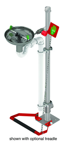 Hughes Eye/Face Wash, Pedestal Mount, Open Stainless Steel Bowl, Galvanized Pipe