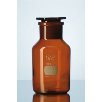 Duran® Reagent Bottle Wide Neck, Amber, with standard ground joint and glass flat-head stopper