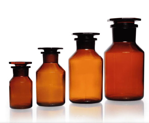Reagent Bottle Wide Neck, Amber from Soda-Lime Glass neck with standard ground joint