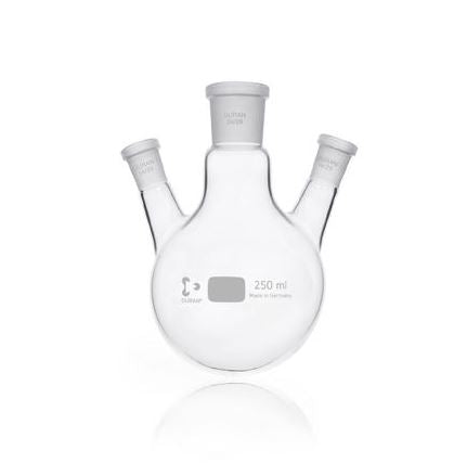 DURAN® Triple-Neck Round Bottom Flask, with standard ground joint angled side necks