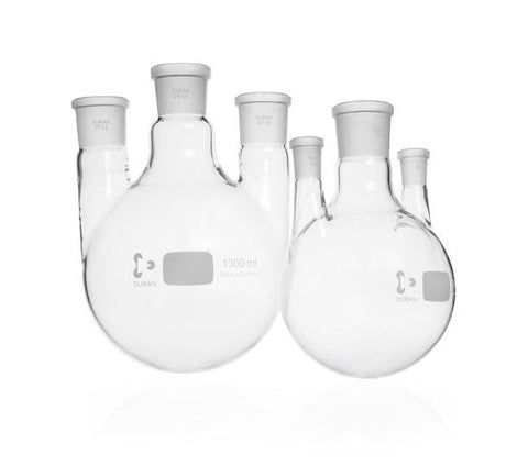 DURAN® Triple-Neck Round Bottom Flask with standard ground joint parallel side necks