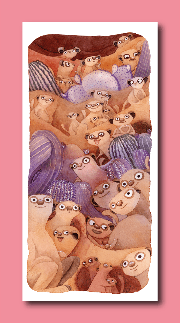 Happy Suricata Family Bookmark - Deborah Go