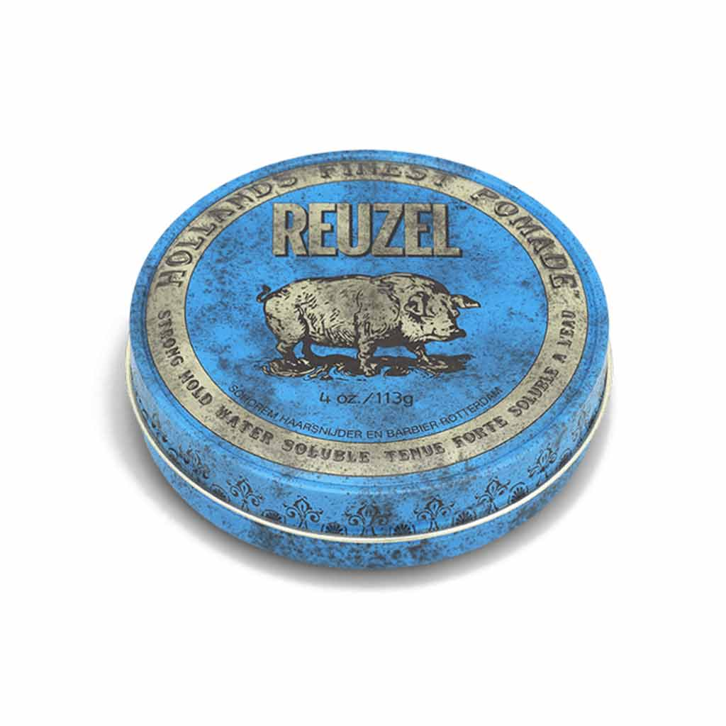 This is the reuzel_blue_pomade-STRONG HOLD_HIGH SHINE_WATER SOLUBLE Pomade-level8 hold pomade-level 8 shine pomade-applying pomade pomade for curly hair mens