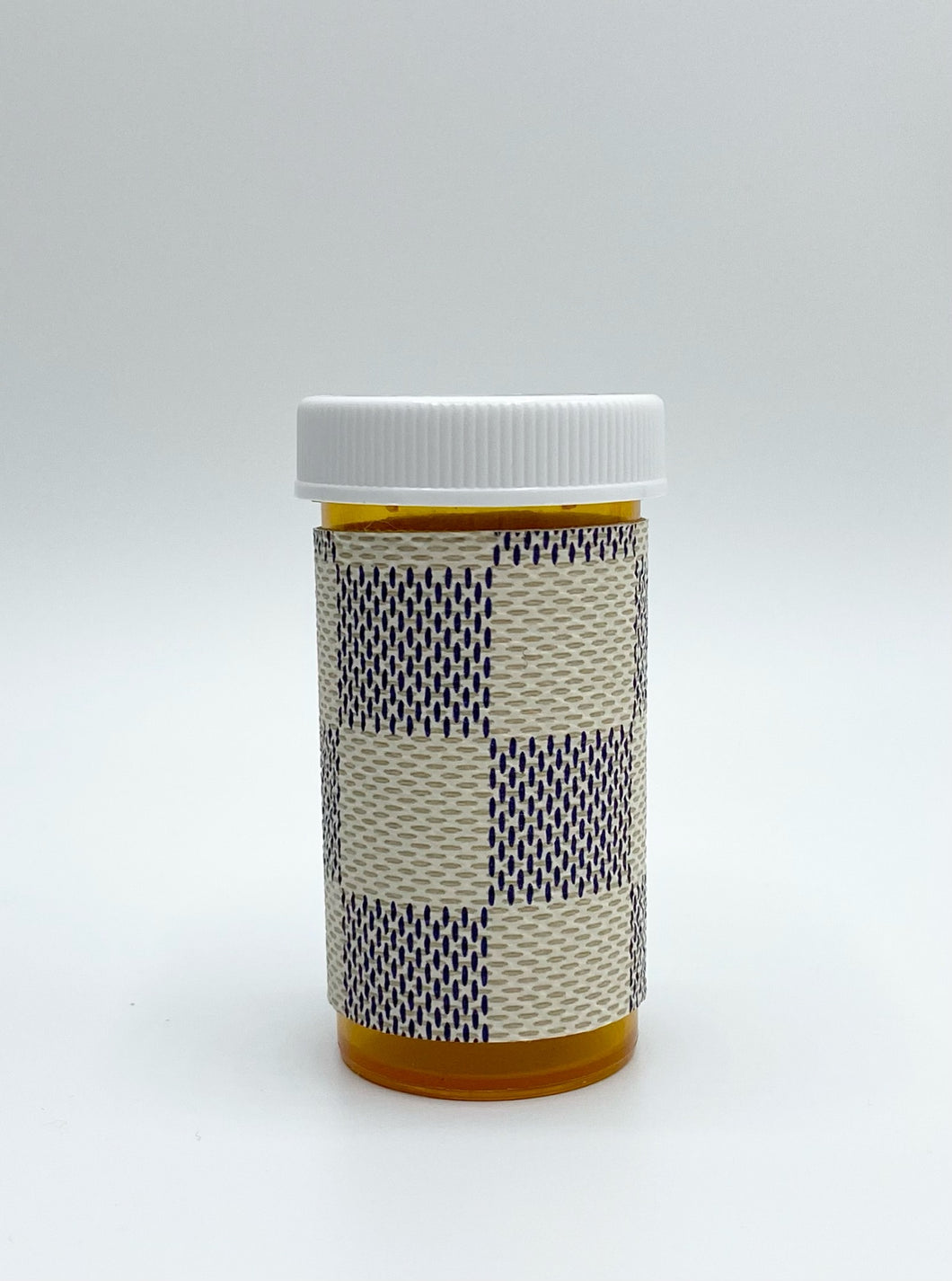 White Damier Pill Bottle