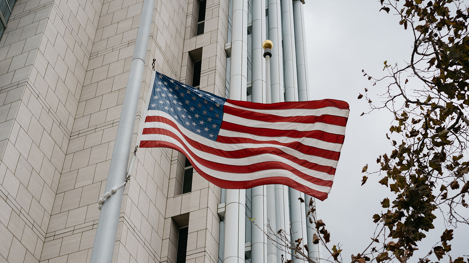 American Flag on Commercial Flagpole