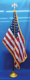 3' x 5' indoor U.S. Flag ONLY with sewn stripes and embroidered stars. Pole sleeve and gold fringing on three sides.