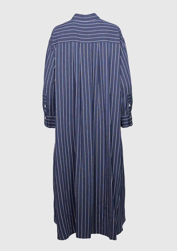 Striped A-Line Midi Shirt Dress in Blue Stripe
