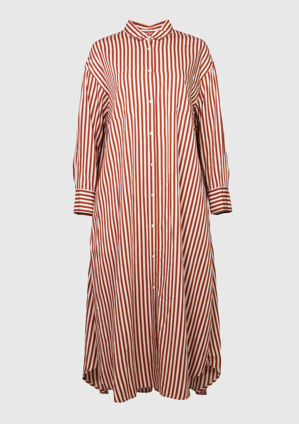 Striped A-Line Midi Shirt Dress in Red Stripe