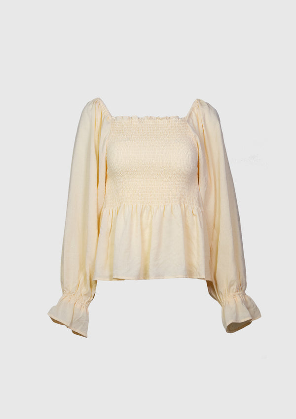 2-Way Shirred Blouse with Scarf in Ivory