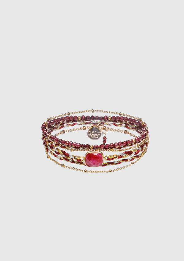 ANNA Wrap Bracelet in Red Multi