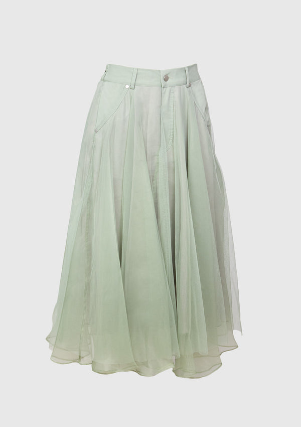 Tulle x Organdy Midi Flare Skirt in Teal