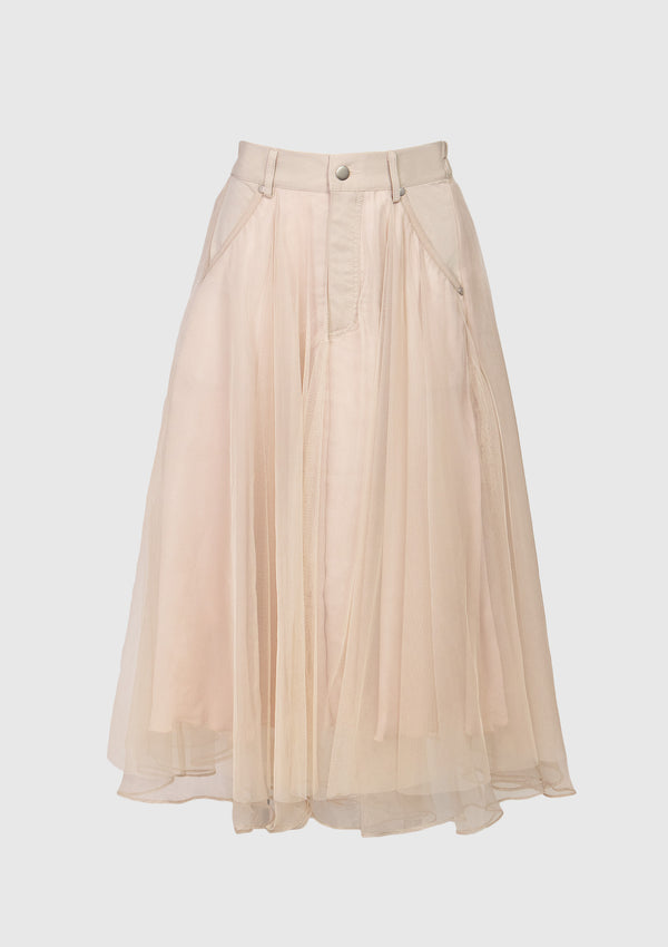 Tulle x Organdy Midi Flare Skirt in Beige