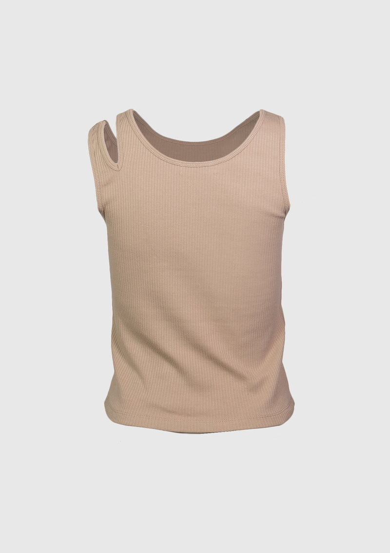 Asymmetric Tank Top with Shoulder Cut-Out in Beige