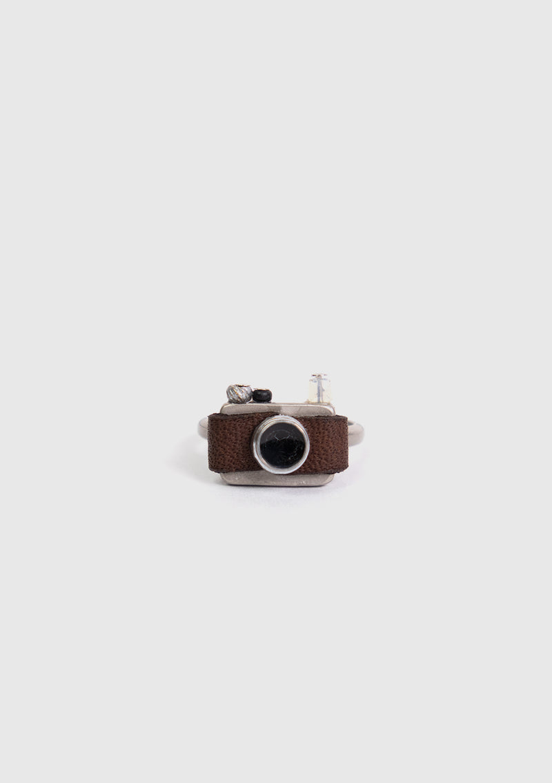 Retro Camera Motif Ring in Black