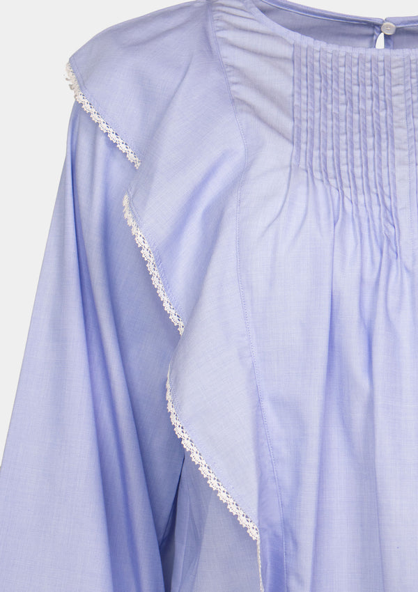Long-Sleeved Blouse with Pintucks & Ruffles in Blue