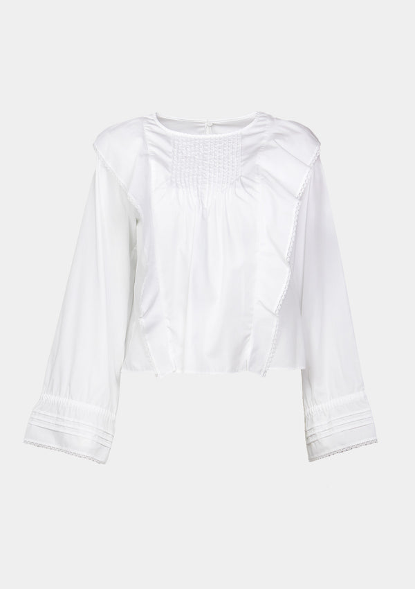 Long-Sleeved Blouse with Pintucks & Ruffles in White