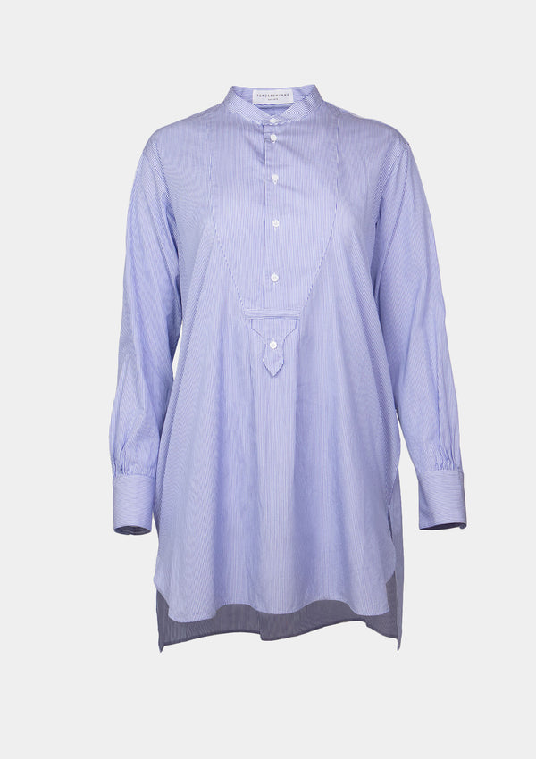 Band-Collar Long Shirt with Bib Detail in Blue