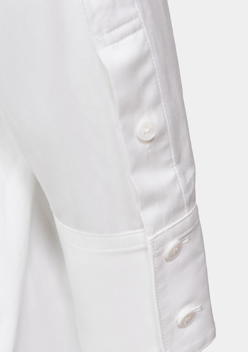 Band-Collar Long Shirt with Bib Detail in White