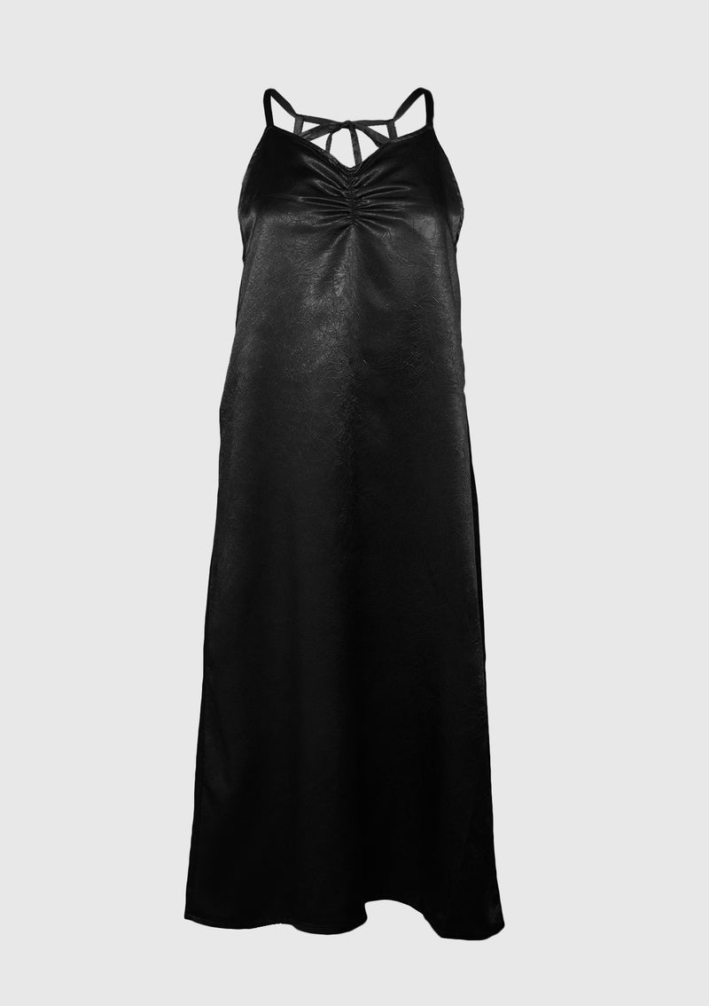 Crinkled Satin Gathered-Front Camisole Dress in Black