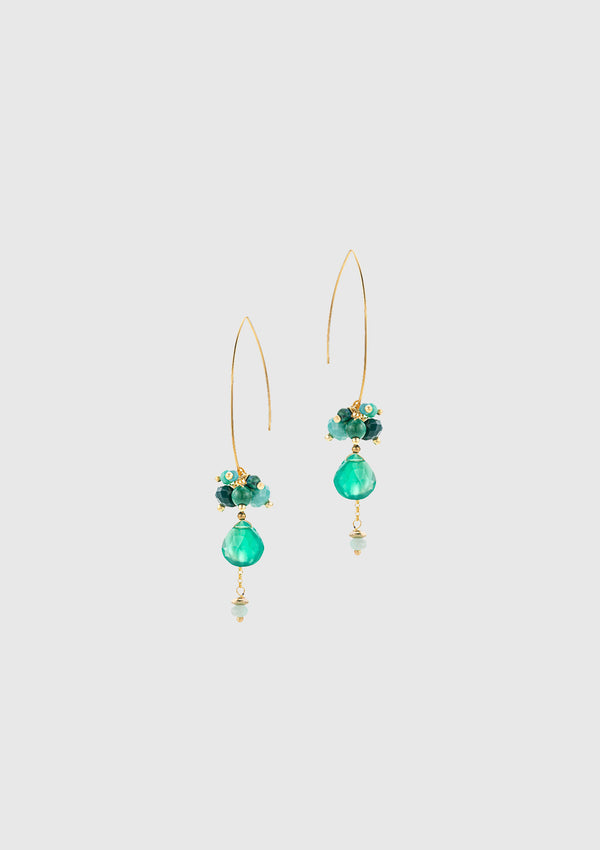 DIANE Tear-Drop Earrings in Green Multi