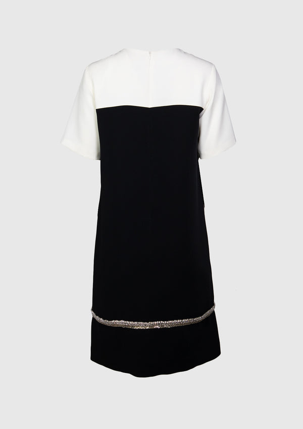 Round Neck Shift Dress with Bejewelled Trim in White Other
