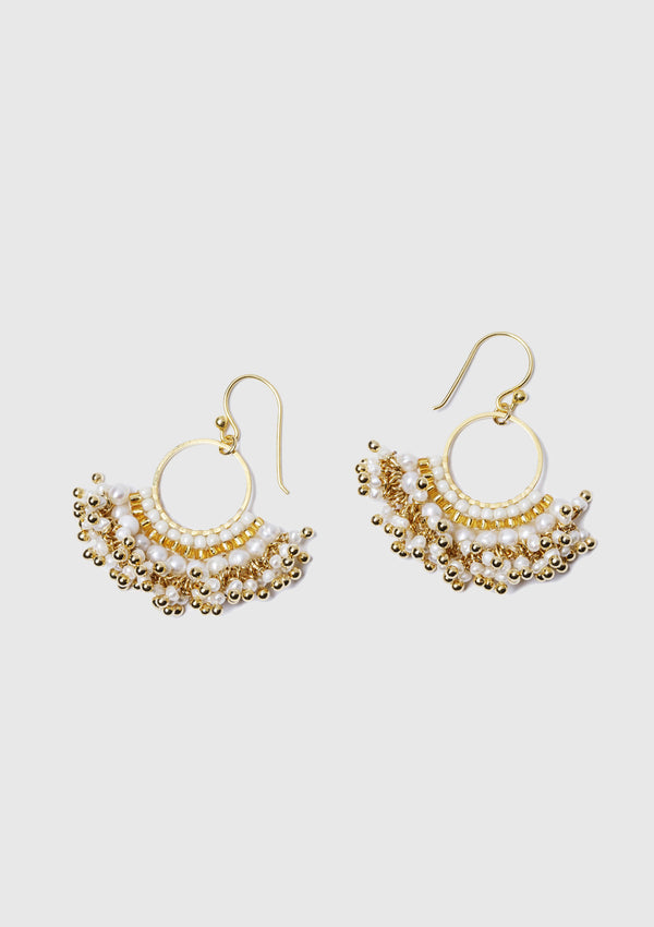 ELEONORE Hoop & Tassle Earrings in White