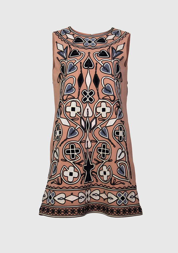 Sleeveless Swing-Dress with Textured Embroidery in Brown Multi