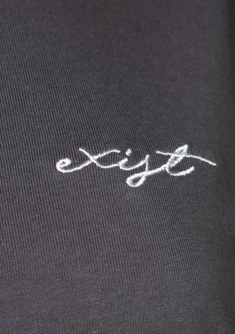 EXIST Short Sleeve Embroidered Slogan Tee in Dark Grey