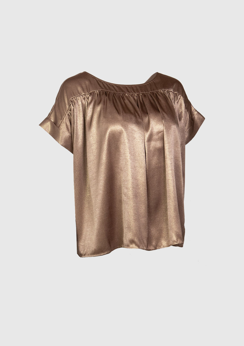 Foil-Satin Round-Neck Gathered Blouse in Bronze