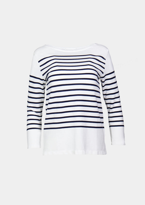 Boat-Neck Long-Sleeved Striped Tee in White Other