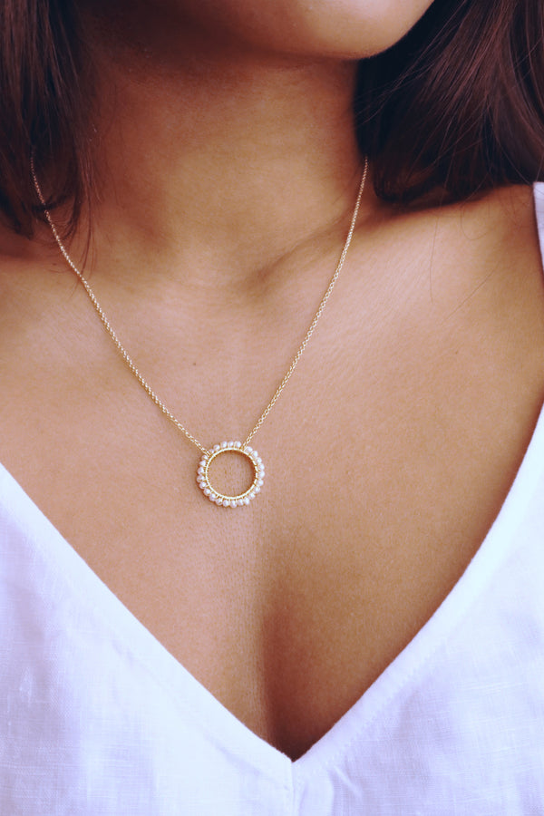 ANOUK Hoop Pendant Necklace in White