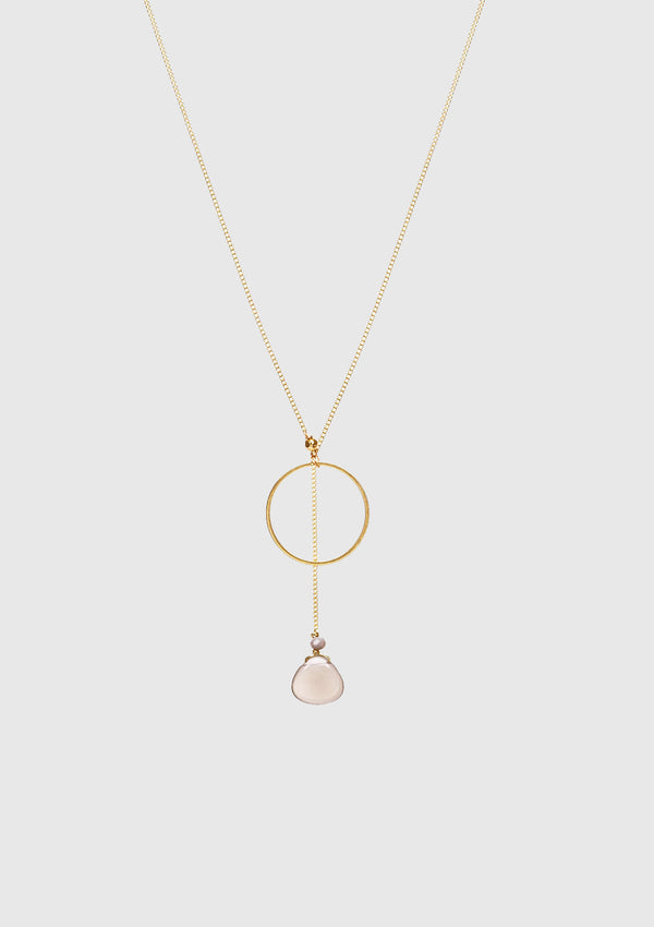 KATE Laureate Necklace with Hoop & Stone Pendant in Light Grey
