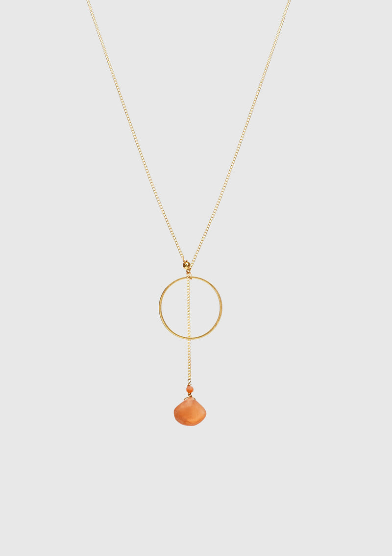KATE Laureate Necklace with Hoop & Stone Pendant in Orange