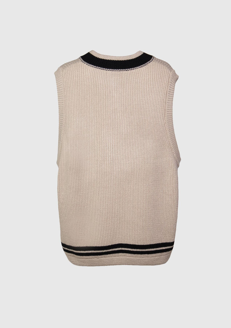 V-Neck Ribbed Knit Vest in Beige